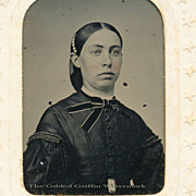 SOLD Civil War Tintype of Stylish Lady is Hand-Colored & Dated 1865 with Potter's Patent on Or