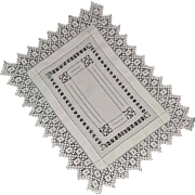 Antique Edwardian Drawn Work Linen Runner or Tray Cloth