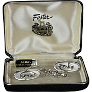 Vintage 1950s Fly-Fishing Cufflinks and Tie Bar in Original Box