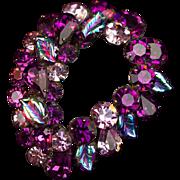 Purple Fireworks! Vintage 1950s Art Glass & Crystal Rhinestone Brooch