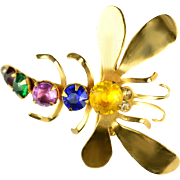 Vintage 1940s Crystal Dragonfly Brooch by Coro