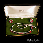 Vintage 1950s Rhinestone Demi-Parure in Exquisite Condition