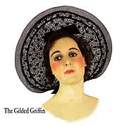 Vintage Wide Brim Handwoven Horsehair Hat c 1931