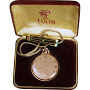 SOLD Vintage c 1941 Elgin 14k Rose Gold-Filled Pocket Watch in Original Box with 12k Gold Fob,