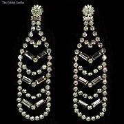Vintage 1940s Bling! Brilliant 40's Earrings With 124 Rhinestones