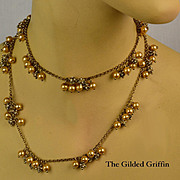 Vintage 1940s Glass Pearl and Rhinestone Bauble Necklace
