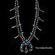 Delicate Vintage Navajo Squash Blossom Necklace, Estate