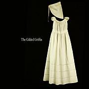 Regency Era c 1820 Christening Gown with Bonnet