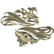 1940s Art Deco Sterling Silver Brooches, Pair