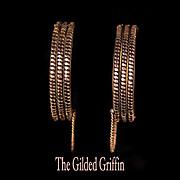 REDUCED Authentic c 1860 Civil War Era Cuff or Wedding Bracelets, 14-karat Rolled Rose and Yel