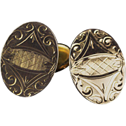 Circa 1890 Engraved Gold-Filled Cufflinks, 14K Gold-Filled, Articulated