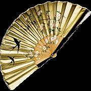 "Rare c 1880 Japanese Silk Fan ""Japanisme"" From Impressionist Era"