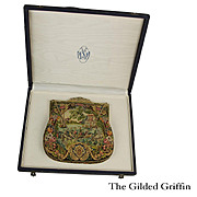 Rare 1940s Micro-Petit Point Purse, Hand Embroidered, in Original Presentation Case