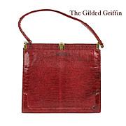 Chic Vintage 1950s Lucille de Paris Red Lizard Skin Purse