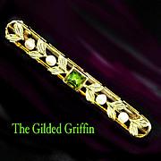 Edwardian Collar Pin Features Peridot Gem & Baroque Pearls