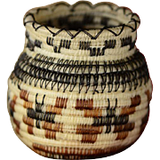 SOLD Intricate & Exceptional: Vintage Miniature Horsehair Basket by Tohono O'odham, Papago,