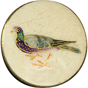 Antique Satsuma Button: Carrier Pigeon