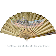 Antique French Linen Hand Fan, c 1890, Seaside Theme
