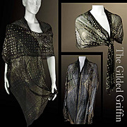 Rare Vintage 1920s Shawl Linen & Gold Washed Metallics  Shawl Outstanding Perfect Condition