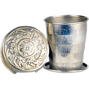 Antique Victorian Vest Pocket or Purse Collapsible Traveler's Cup Dated 1897