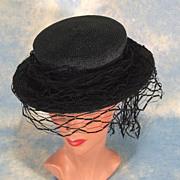 Superb 1940's Bullock's Wilshire Sportswear Vintage Boater Hat