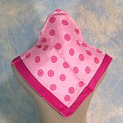 Button Motif Vintage Hot Pink Silk Scarf