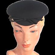 Fun 30s-40s Black Wool Felt Vintage Topper Hat