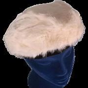Plush White Rabbit Fur Vintage Beret Hat
