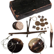 SALE Antique Apothecary Balance Scale Complete Set in Original Box