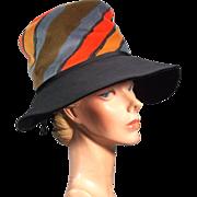 Eye-Catching 1970's Vintage Mr John Colorful Wide Brim Hat