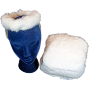 Delightful Child's White Rabbit Fur Vintage Hand Muff and Hat