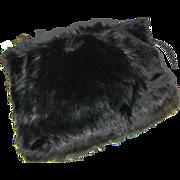 Striking Edwardian Black Bear Fur Winter Hand Muff