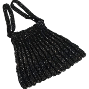 Shimmering Edwardian Pristine Black Glass Beaded Reticle Purse