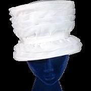 Grand 1960s White Organza Tall Basket Vintage Hat
