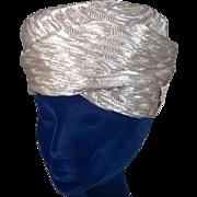 Modish 1960s Cream Sculptured Straw Vintage Turban Hat