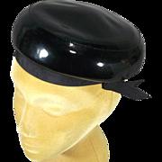 Adorable Black Patent Vinyl 1950s-60s Vintage Pillbox Hat