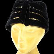 Elegant 1950s Black Velvet w Glass Beads Vintage Hat