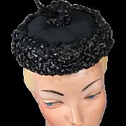 Cute 50s-60s Black Straw Pillbox Hat