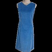 Sporty 1950s Blue Cotton Velvet Sleeveless Vintage Casual Dress