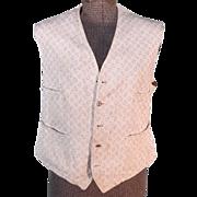 SALE Antique 1879 Victorian Men's White Brocade Vest or Shirtwaist