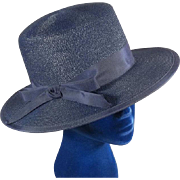 Classic 1960's Navy Blue Straw Ladies Boater Vintage Hat in Hat Box
