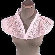 Lovely 1930s-40s Vintage Ladies Pink Organza Eyelet Lace Dress Collar