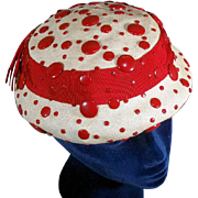 Fun 1940s Red Rivet Decorated Panama Straw Vintage Profile Hat