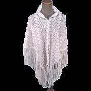 White Lacy Classic 1970s Granny Shawl