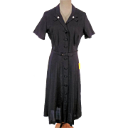 Summery NOS 1960s Black Rayon Shirt Dress Never Worn w Original Tags