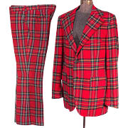 SOLD Eye-Catching Red Plaid 1970s Men's Wool 42L Vintage Suit