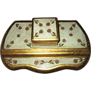 Vintage Florentine  Tole gilt/Cream/ Wood Desk Tray with inkwell