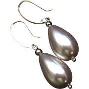 Large Pear Shaped Sea Shell Pearls on Sterling  Hammered Earrings