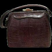 Vintage Ladies Purse/Handbag Brown Lizard Skin Brass  & Leather Trim  1950's