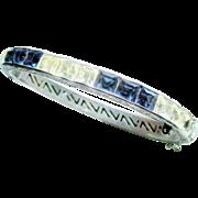 Art Deco Vintage  Channel Set Paste Silver Wide Hinged Bangle Bracelet Blue & Crystal
